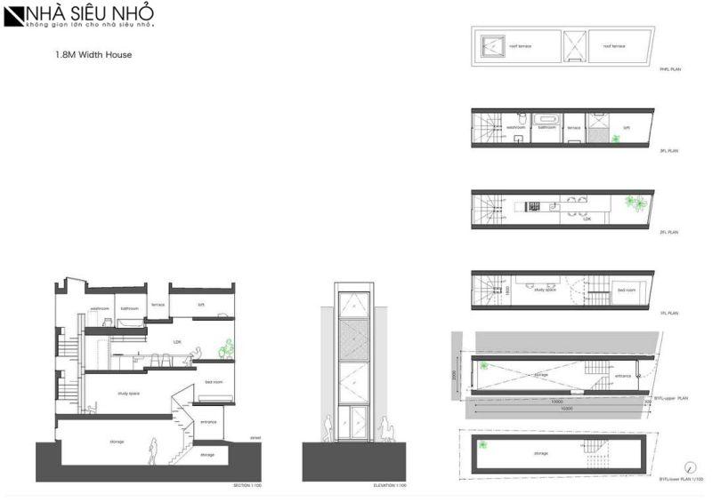 Mặt bằng, mặt cắt, mặt đứng nhà 30m2 bề ngang 1,8m