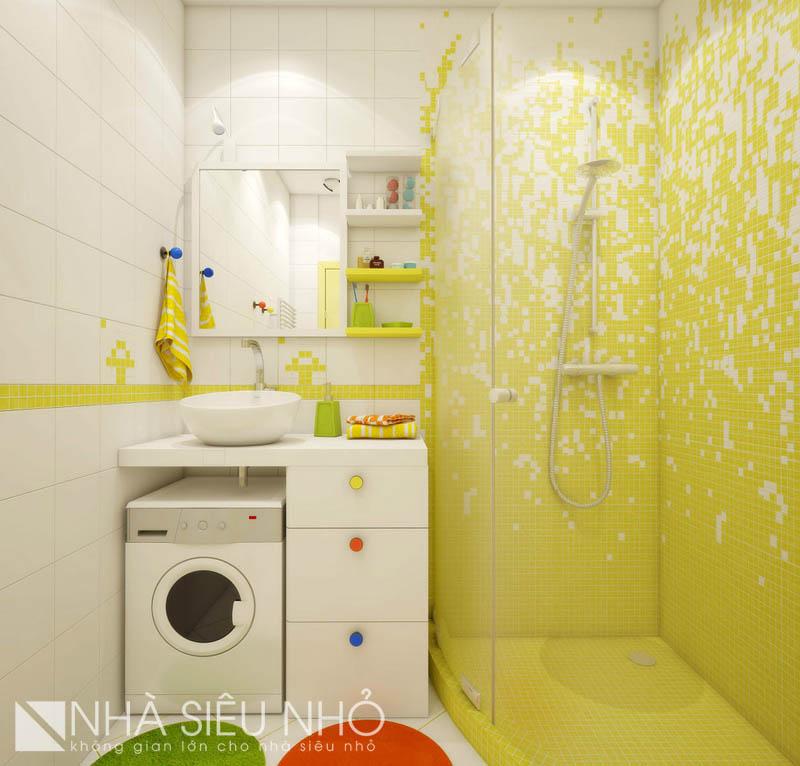 Nhà vệ sinh nhỏ nhưng tiện nghi, có cả vị trí đặt máy giặt