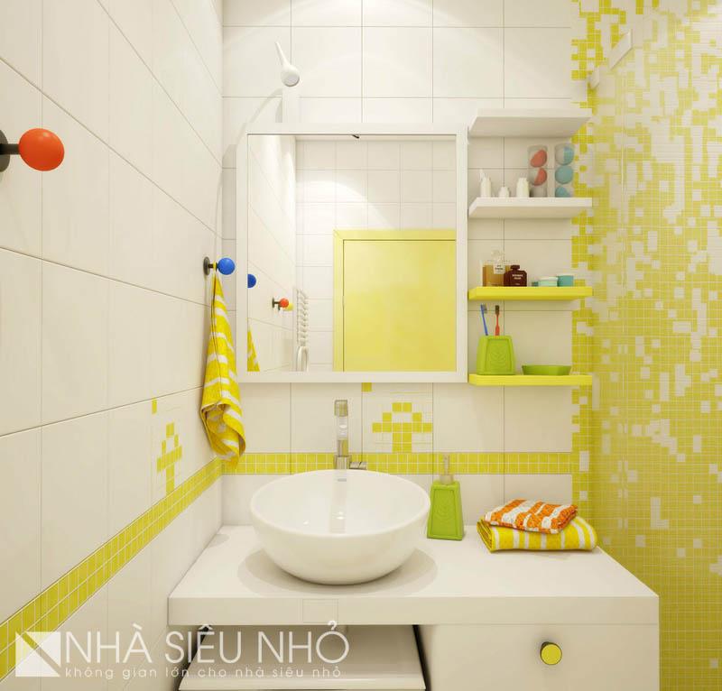 Màu sắc tươi sáng làm quên đi không gian nhỏ của nhà vệ sinh