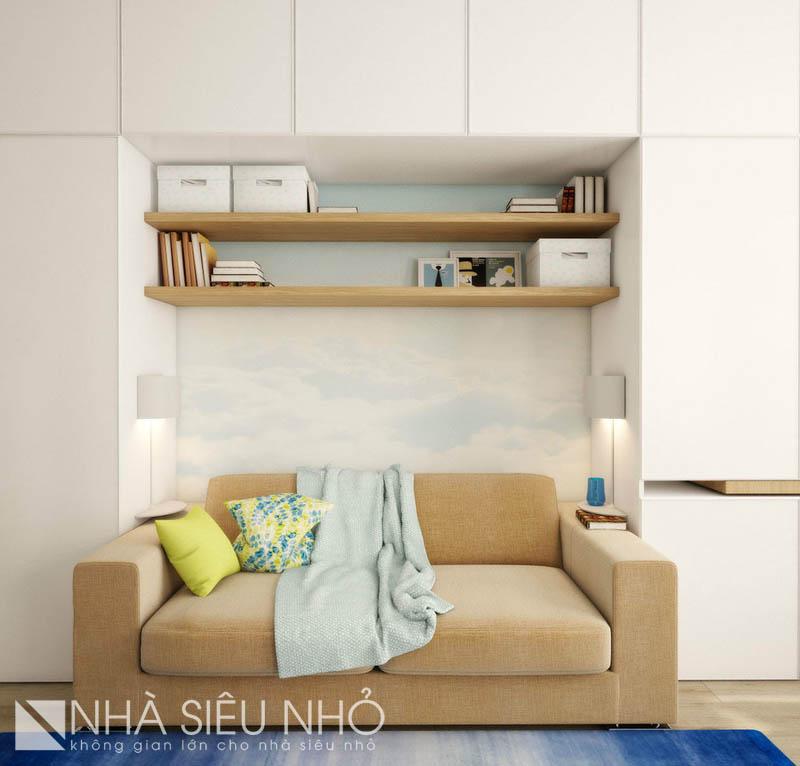 Sofa - Giường ngủ có đèn bàn, thích hợp nghỉ ngơi, đọc sách cuối ngày
