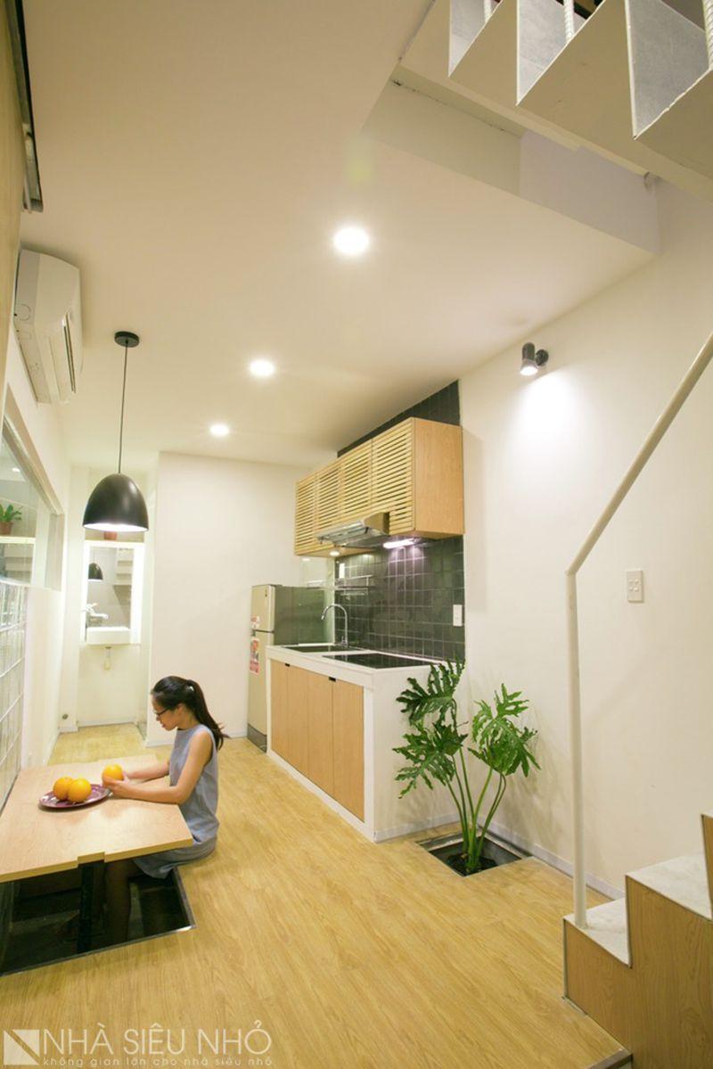 Không gian liên hoàn: bếp, ăn, sinh hoạt chung, lối giao thông cầu thang...