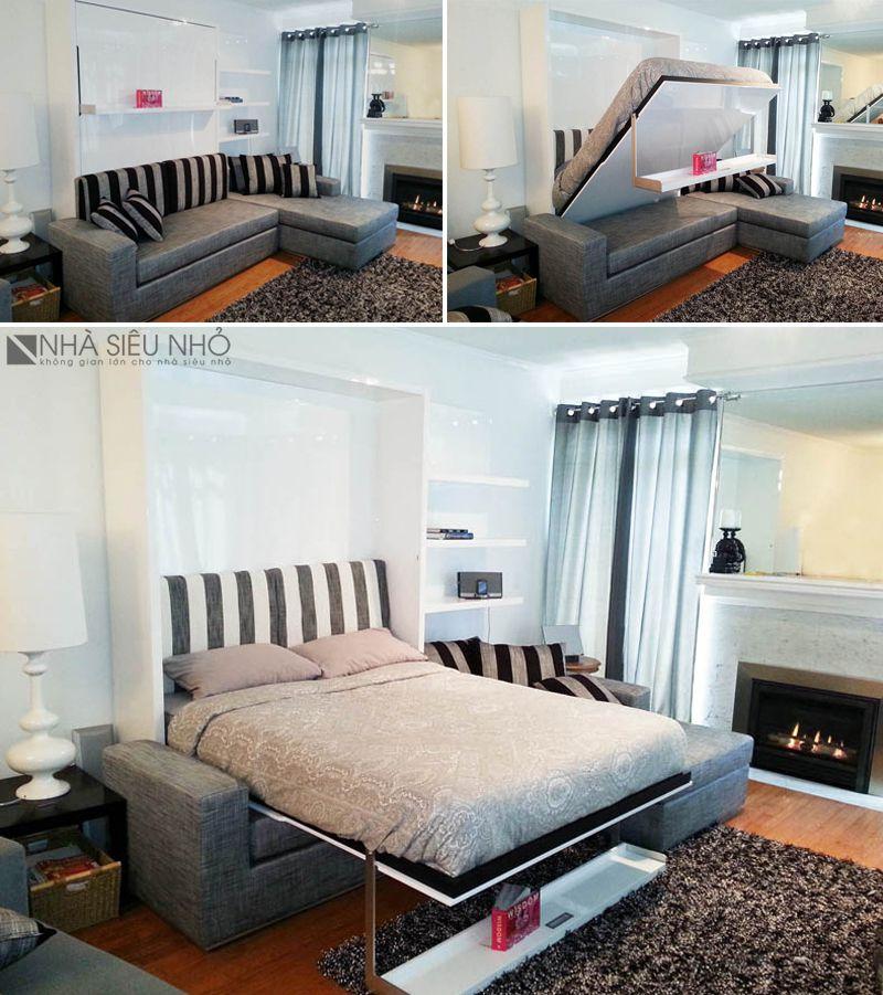 Sofa-Giường-Kệ, nội thất thông minh 3 trong 1
