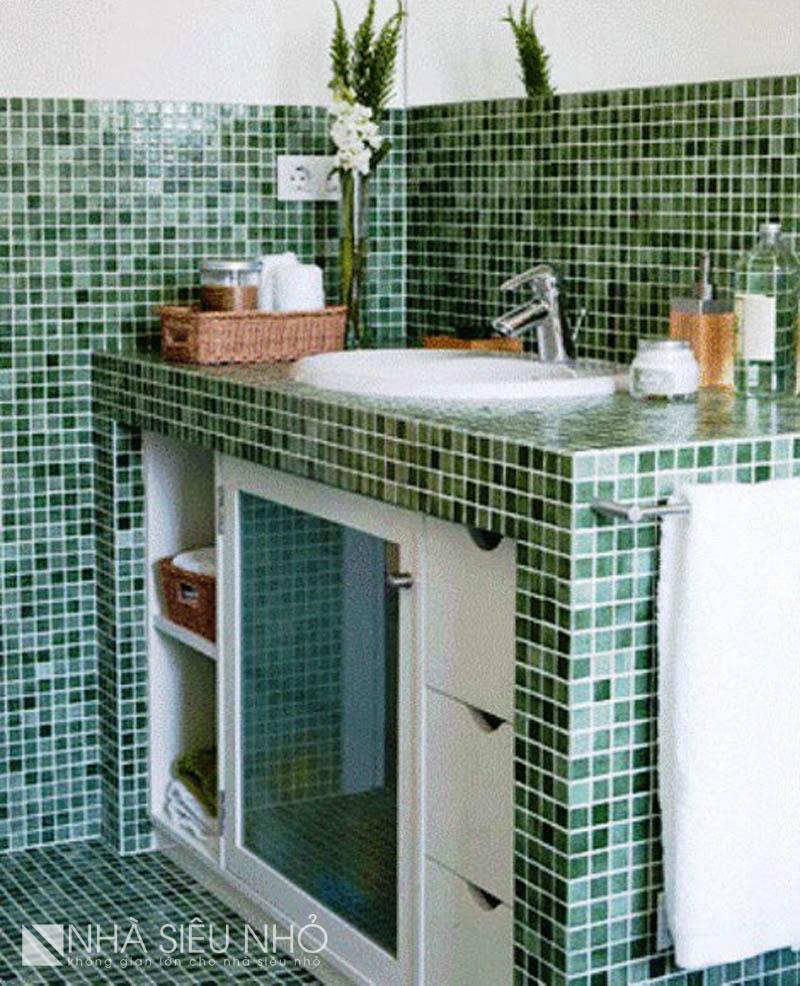 Thiết kế bồn rửa trên bệ xây cứng có thể tận dụng không gian trống bên dưới. Vừa giấu đi đường ống xấu xí, lại vừa có thêm không gian chứa đồ.