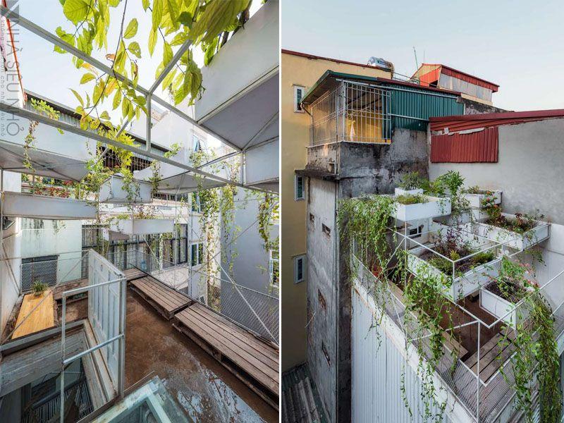 Tầng mái là không gian thư giãn với một khu vườn đầy cây xanh.