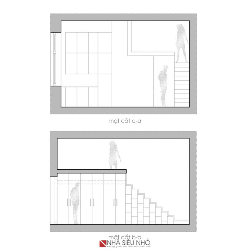 Các diện tường được bố trí đồ nội thất thông minh phong cách hiện đại