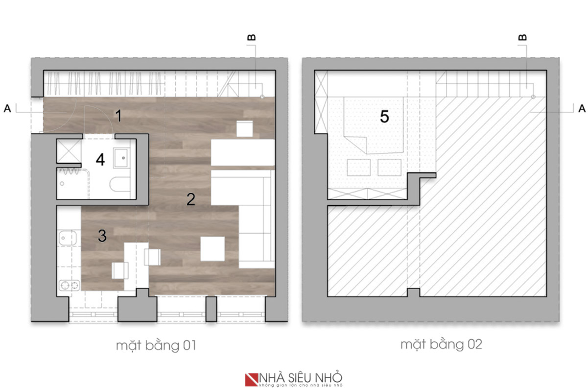 Tầng 1 với phòng thay đồ, phòng khách, làm việc, bếp, ăn tạo thành một không gian liên hoàn. Không gian ngủ được đặt bên trên phòng vệ sinh và thay đồ, với cầu thang là một giá sách.
